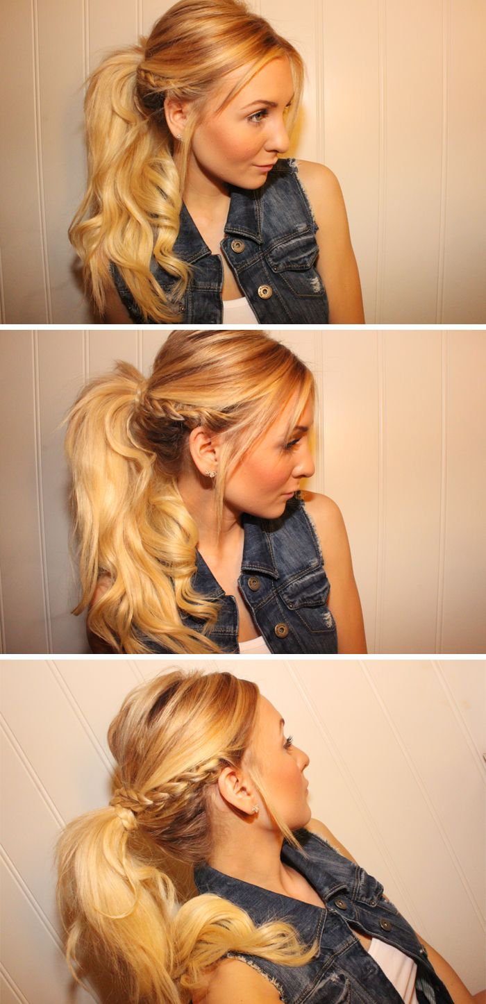 Sassy braid into ponytail! So cute!