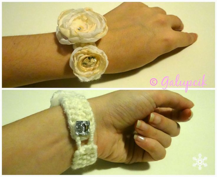 Knitted handmade bracelet with white and cream roses from the Snow Princess collection.