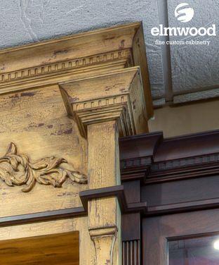 *Moulding Monday* An elaborate crown stack for an elaborate accent cabinet. EK343 crown moulding with the EK163 dentil insert, all above EK336 stacker...