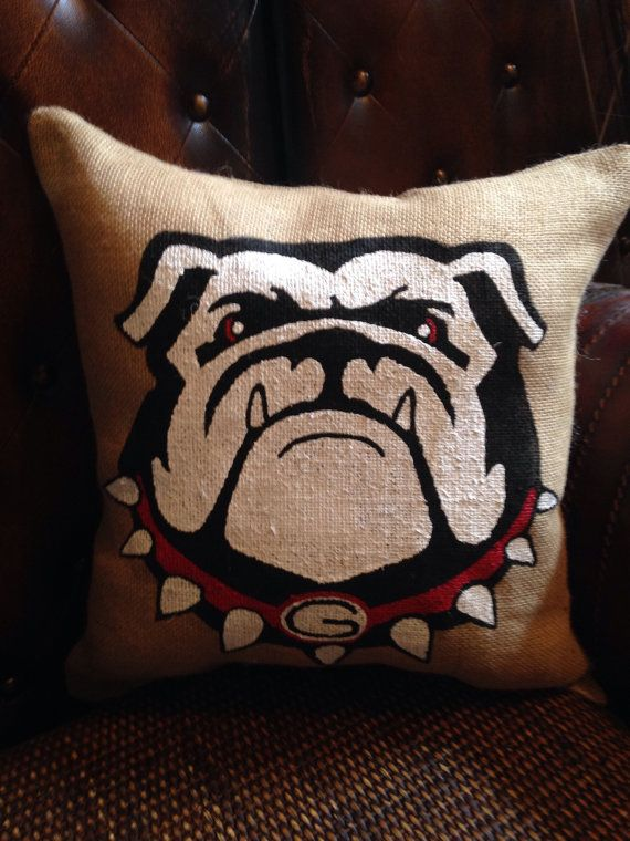 Burlap hand painted Georgia Bulldogs pillow ****see matching garden flag…