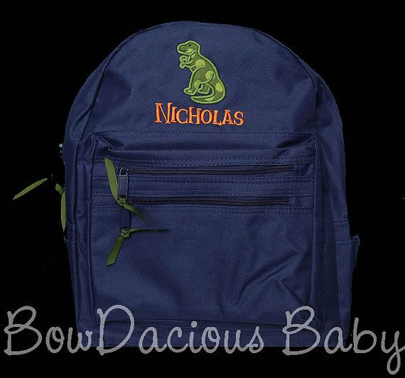 Boys Personalized Backpack Dinosaur Backpack by bowdaciousbaby