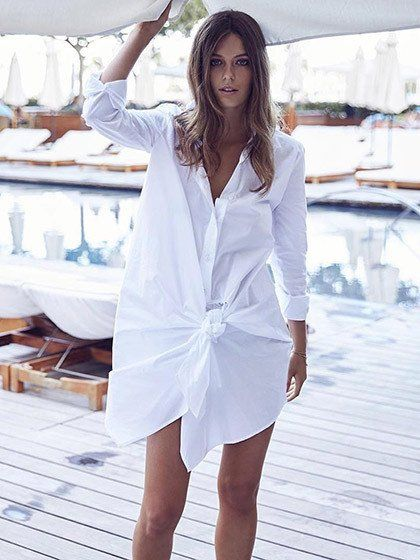 White Knotted Front Asymmetric Longline Shirt …