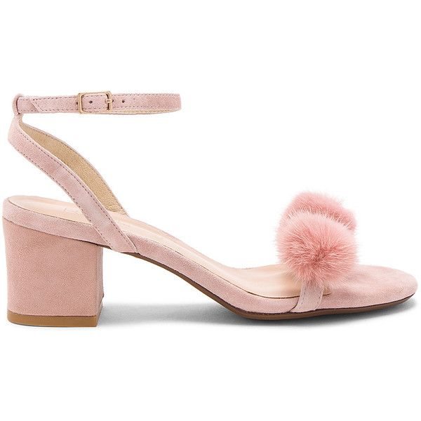 RAYE x REVOLVE Amara Mink Fur Sandal (7,855 INR) ❤ liked on Polyvore featuring shoes, sandals, pink, mid heel ankle strap shoes, ankle tie shoes, ankle tie sandals, ankle strap sandals and pom pom sandals