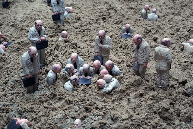 Follow the leaders, sinking sculpture illusion by Isaac Cordal, via Flickr