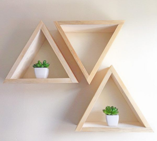 3 triangle shelves geometric modern custom shelves by Lovelifewood