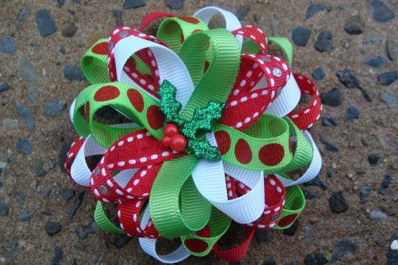Christmas Hair Bow Loopy Flower Hair Bow