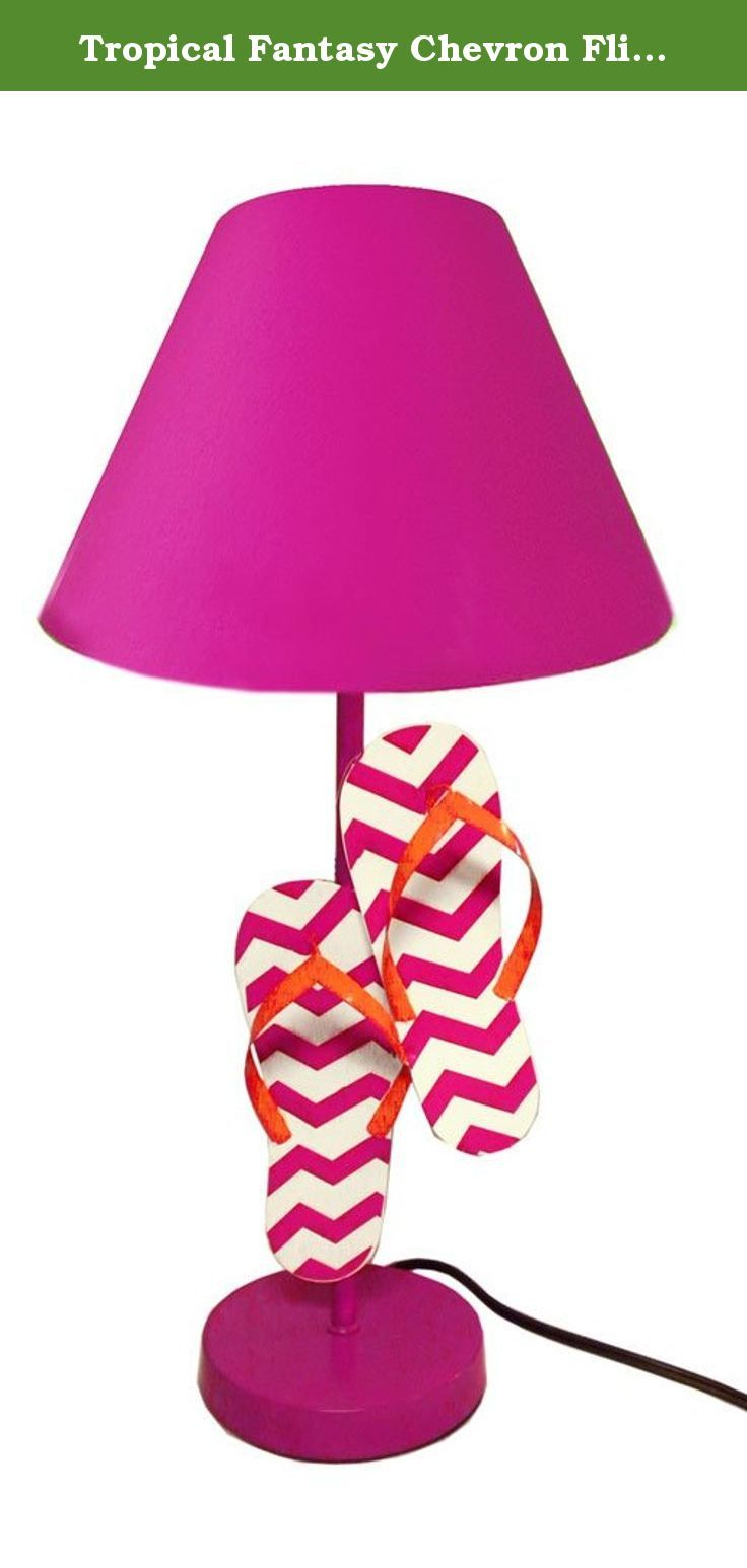 Tropical Fantasy Chevron Flip Flop Lamps Beach Sandal Lighting (Pink). Add a tropical accent to any room with one of these fabulous flip flop lamps! Made of hand painted metal, these bright lamps feature an attractive chevron design and matching fabric shades. These summertime lamps are sure to add some fun to any sunroom, beach house or kid's room. An easy, affordable way to freshen up a dull space. Note: Because these lamps are hand painted, there may be some slight variations in color…