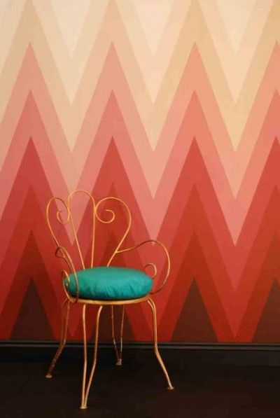 ombre chevron painted wall