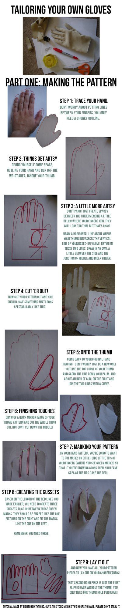 Gloves Tutorial: Part I, Making a Pattern by ~Eightohsixtythird on deviantART