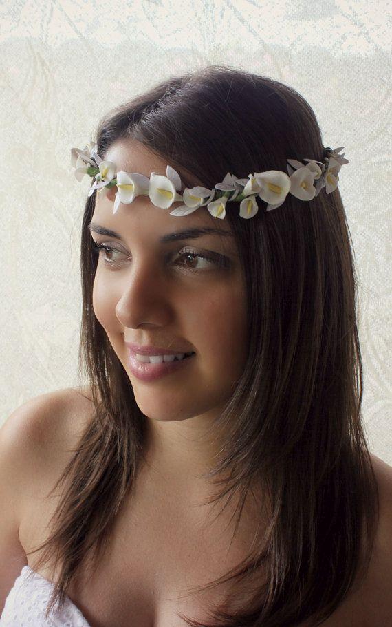 Calla Lilies Floral crown Wedding Flower Crown. by rosesandlemons, $52.00