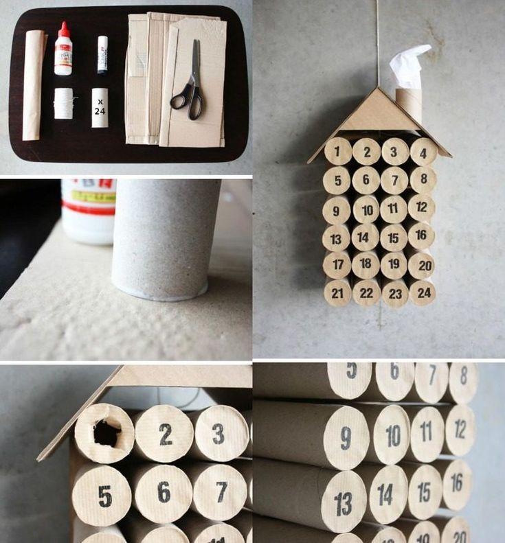 idée de bricolage pour Noël - calendrier de l'Avent en rouleaux de papier toilette vides et chiffrés
