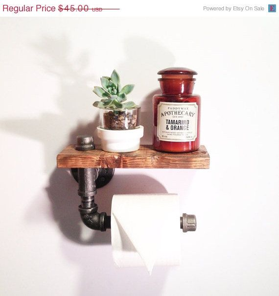 ON SALE Hand Made Reclaimed Wood Bathroom Shelving Unit Industrial Urban look with gas pipe Walnut Finish