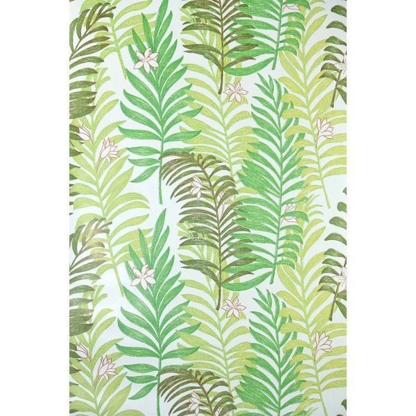 Retro Wallpaper By The Yard Vintage Wallpaper   Mylar Green Fern Fronds On  White With Little Flowers