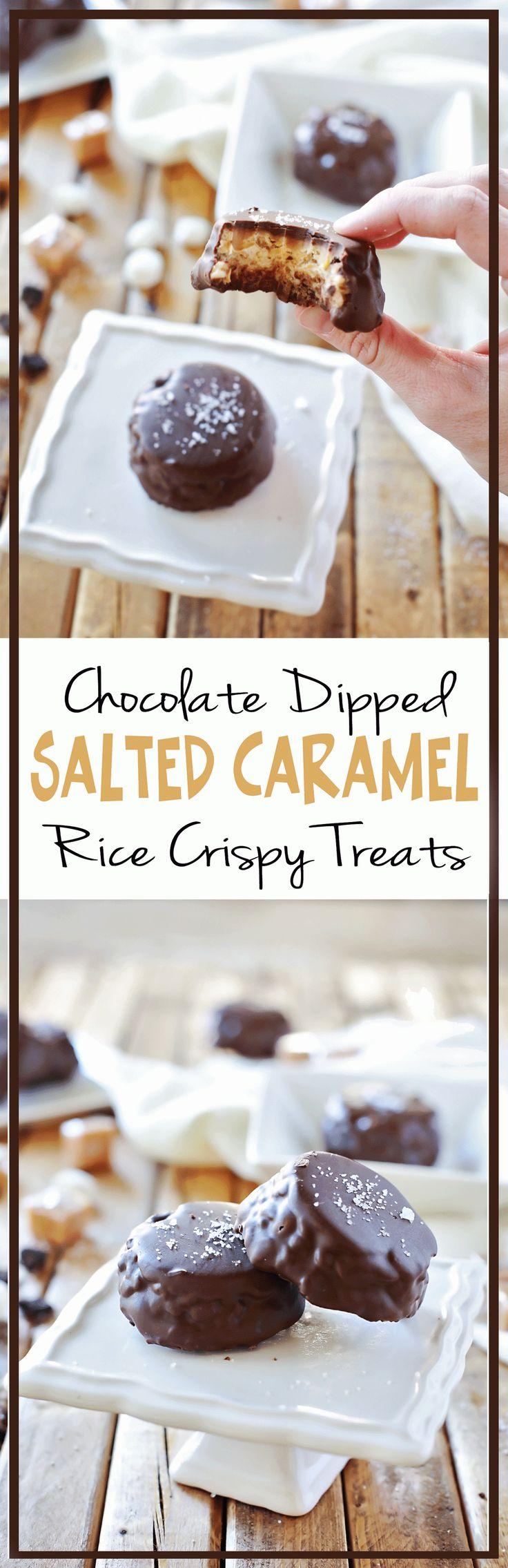 Chocolate Covered Gesalzene Karamell-Reis-Crispy Treats durch Flirten mit Flavor