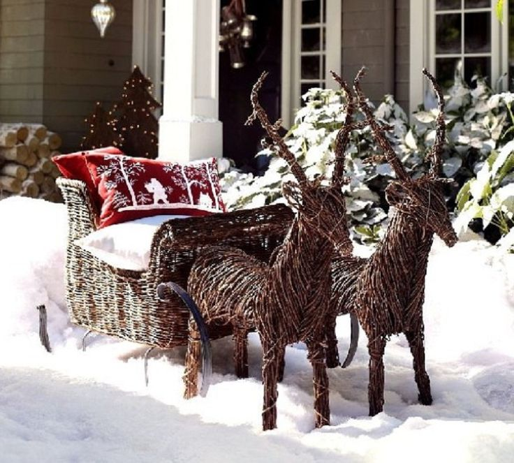 1000 images about santa sleigh and reindeer outdoor for Christmas reindeer decorations outdoor