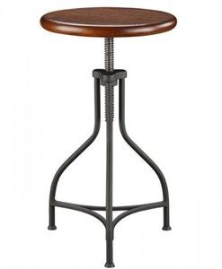 Carolina Cottage Adjustable Logan Metal Stool with Wood Seat
