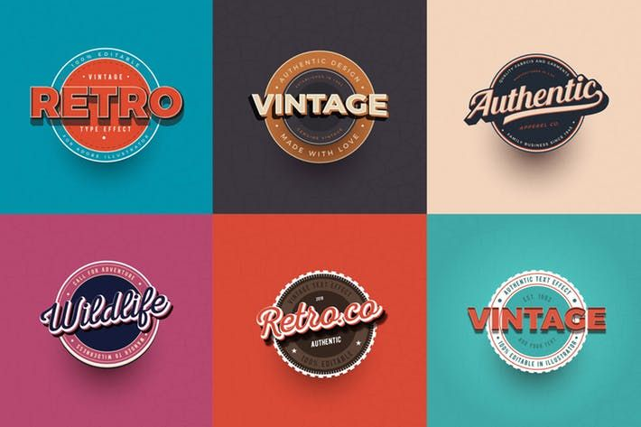 Vintage Text Effects For Illustrator By Andrewtimothy On Envato Elements Vintage Text Text Effects Badge Design