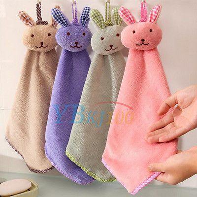 Hanging Soft Plush Cartoon Rabit Wipe Face Hand Towel Children Bathroom Kitchen