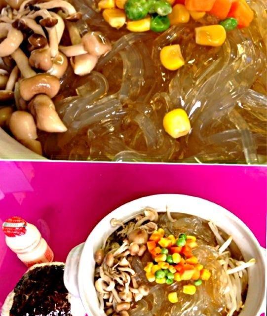 本日の職場ランチ ところてんが麺の代わりの冷麺風ヘルシーランチ(≧∇≦) 具材も100%植物性でノンオイルで お腹いっぱい食べても超〜ローカロリー - 21件のもぐもぐ - 冷麺風心太 by manilalaki