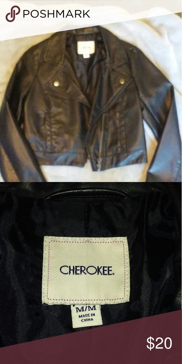 Girls black faux leather jacket.  Size M Girls Cherokee brand (fromTarget) black faux leather jacket.  Size Medium.  Only worn once!  Like new condition. Cherokee Jackets & Coats