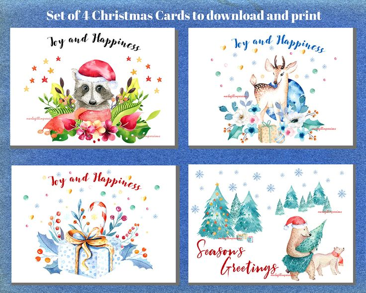 Set of 4 Hand painted Watercolour Christmas Cards for Instant Download - Marla Gill