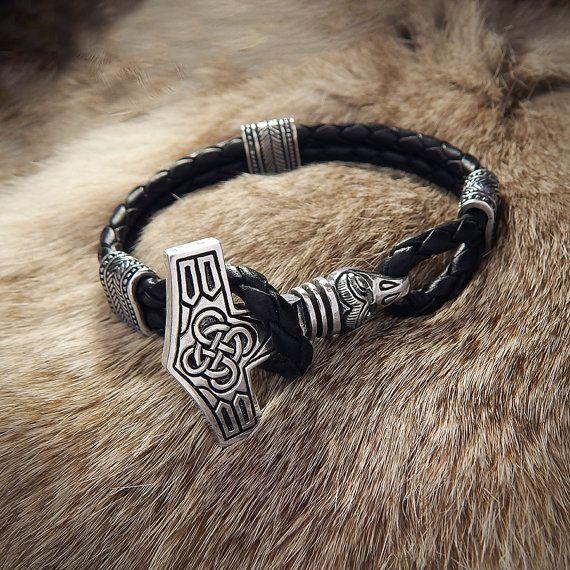 Viking Thor's Hammer Bracelet with eagle head. Mjolnir. Sterling silver Thor Hammer Vikings Pendant Viking Age Replica Lether cord