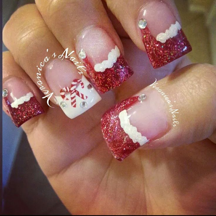 @nailedbyvee red white tips Christmas Santa hat candy cane nail art freehand cute design acrylic nails glitter tips