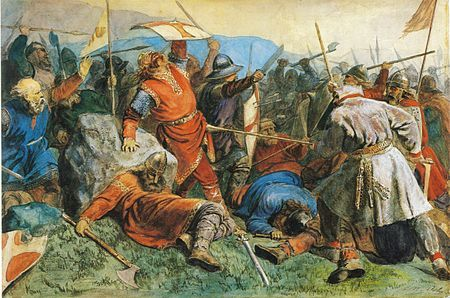 """Painting of Battle of Stiklestad - Wounded King Olaf Haraldsson """"rex perpetuus Norvegiae"""", the eternal king of Norway, leans on a rock as he is speared by Thorir Hund, a chieftan and commited Pagan. Even though Olaf tortured and murdered to spread Christianity, he was made a saint and a church was built over the rock where he was slain. He is the Patron Saint of Norway."""