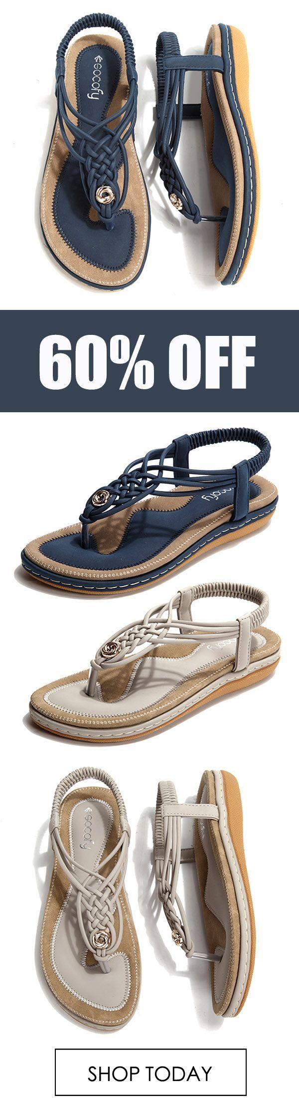 SOCOFY Large Size Frauen Schuh gestrickte beiläufige weiche Sohle im Freien Strand Sandalen. #co