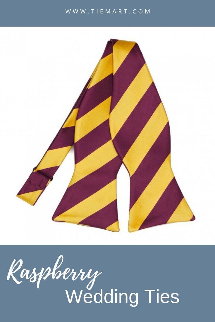 TieMart Dark Purple and Golden Yellow Striped Bow Tie