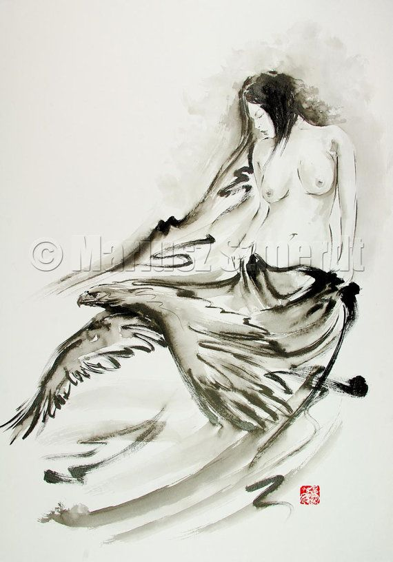 """Japanese woman watercolor painting 16,5""""x11,5"""""""