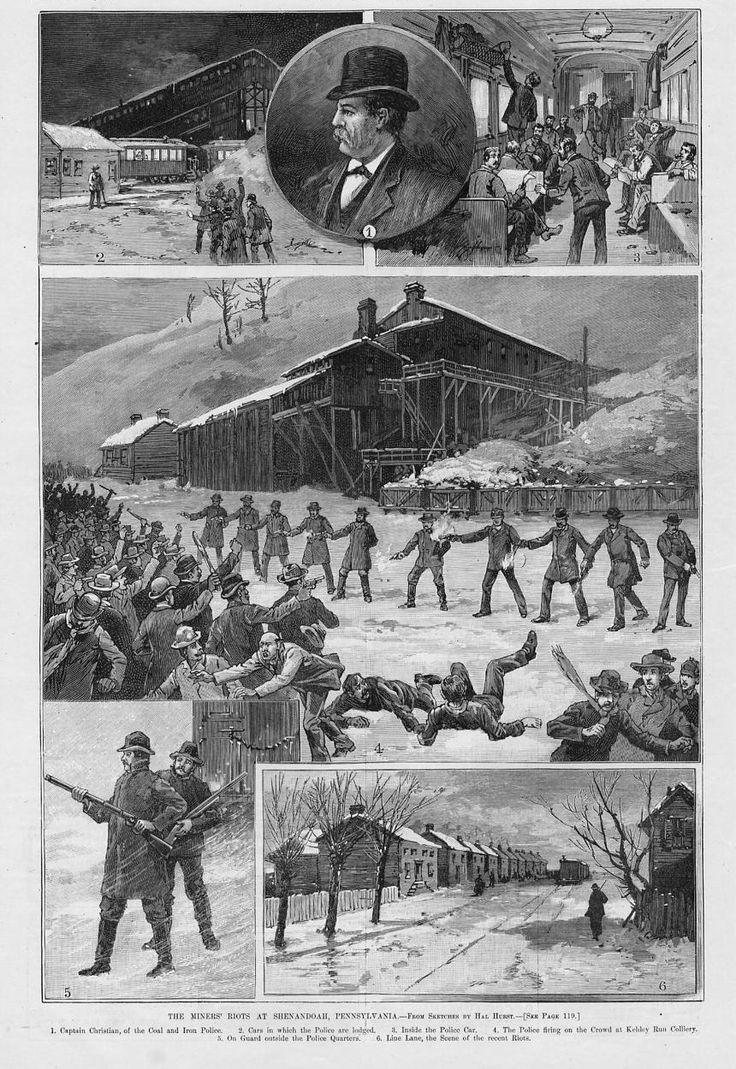 Police News Woodcuts   Police Miners' Riot at Shenandoah Pennsylvania History Coal and Iron ...