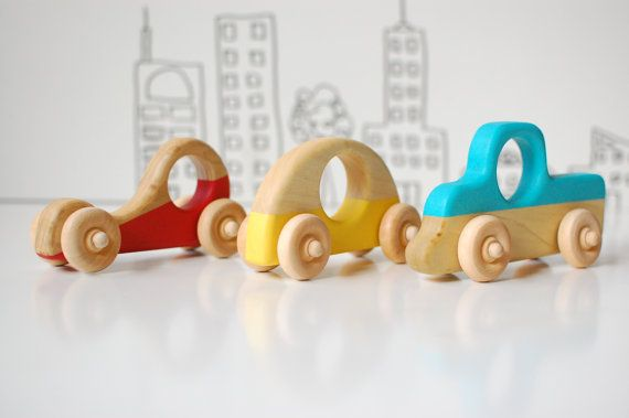 Wood Toy Car Set, Easter Gift, Wood Car, Toy Car, Red Racecar, Little Blue Truck and Yellow Car on Etsy, $30.00