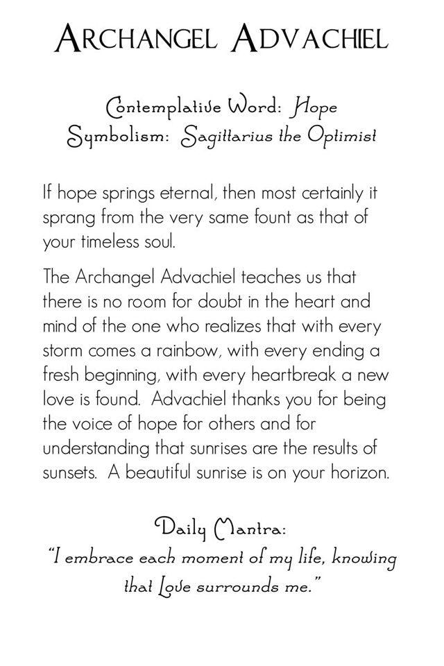 Archangel Advachiel | back | Mystic Angels Oracle 21