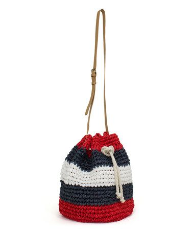 Another great find on #zulily! Red & Navy Stripe Bucket Bag #zulilyfinds