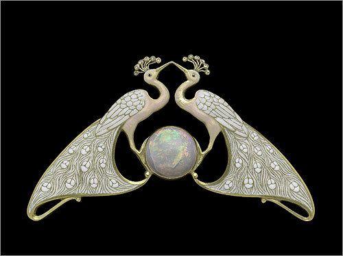 Eugene Feuillâtre | Double peacock necklace, ca. 1900