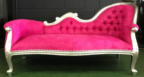 Rockstar pink chaise lounge chesterfield sofa queen loveseat couch ...