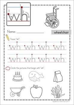 FREE WH Digraph word work unit. 84 pages in total. A page ...