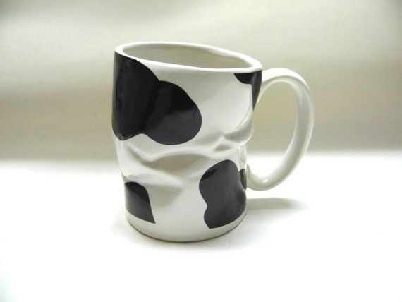 Cow Black White Coffee Cup Mug Wrinkled Cup by sweetie2sweetie