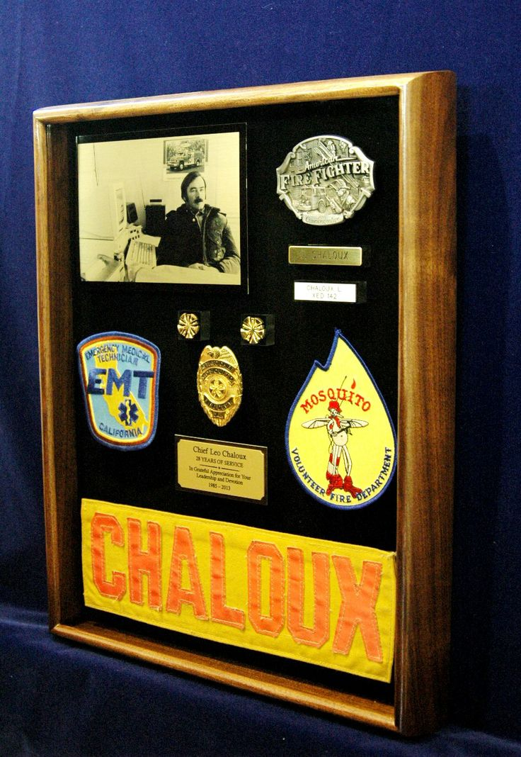 Custommade shadow box for a fire chief's retirement gift
