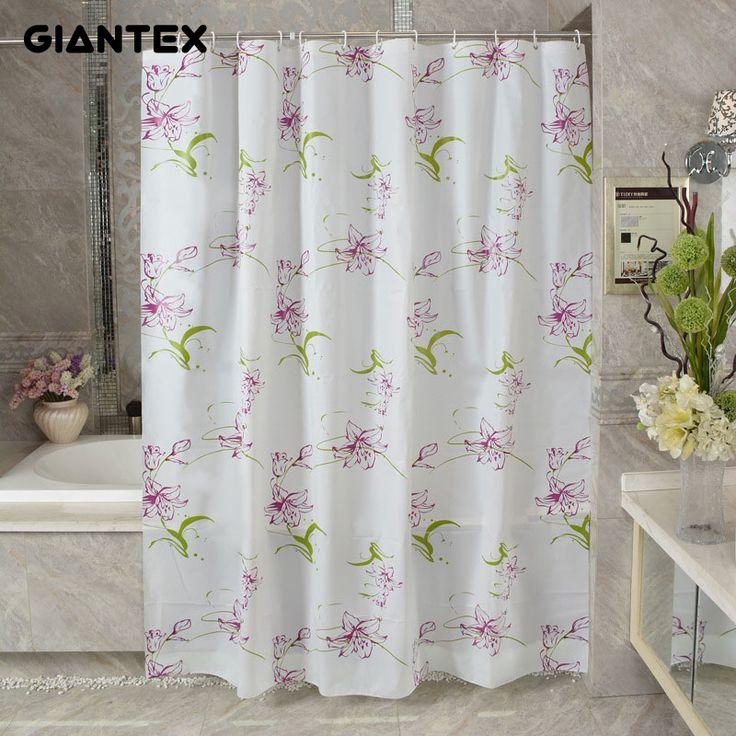 GIANTEX Purple Lily PEVA Bathroom Waterproof Shower Curtains With Plastic Hooks U1091 #Affiliate