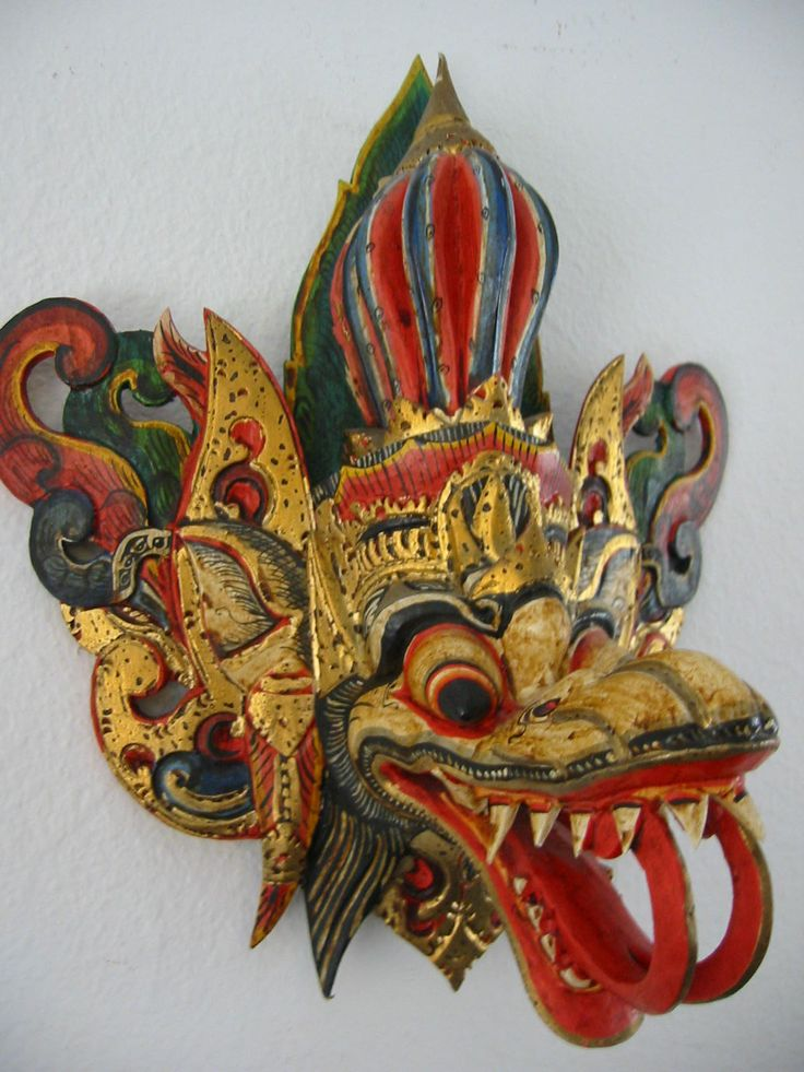 """Very Likely Indonesian Folk Artisan Art. Gilt wood Asian, hand painted ornate bold colors. 14""""h. & w. ,8"""" d. aged & excellent normal wear."""