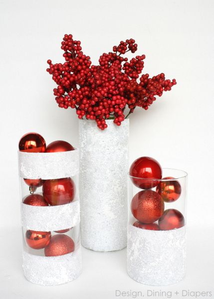 Winter Vases Using Dollar Store Finds by Design, Dining + Diapers #dollartree #christmas