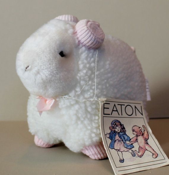 EATON 1980's Vintage Lamb  Stuffed Animal Toy  Pristine