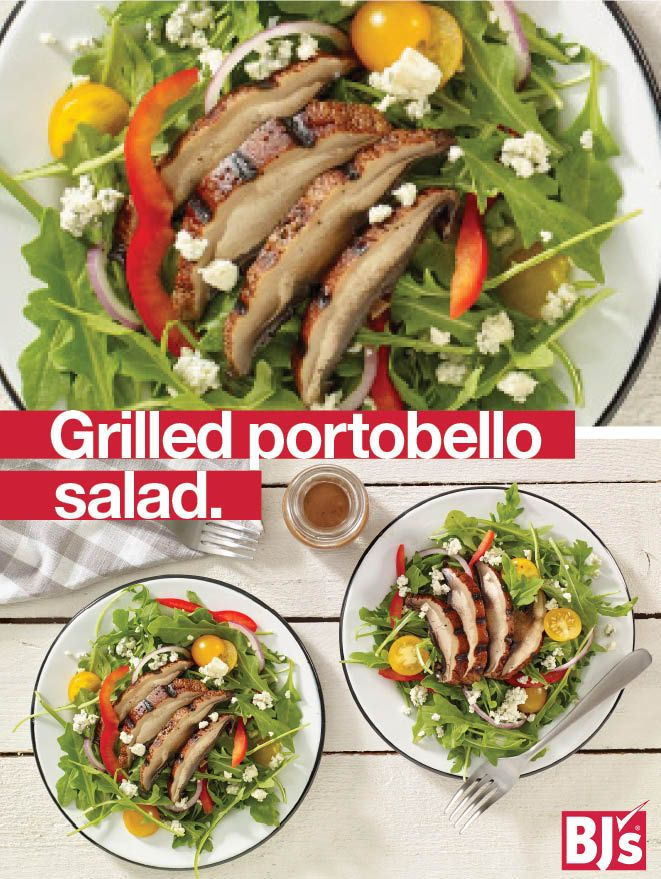 No-Meat Mondays - Veggies for meat lovers! This hearty dinner salad substitutes grilled portobello mushrooms for steak. http://stocked.bjs.com/food/grilled-portobello-salad
