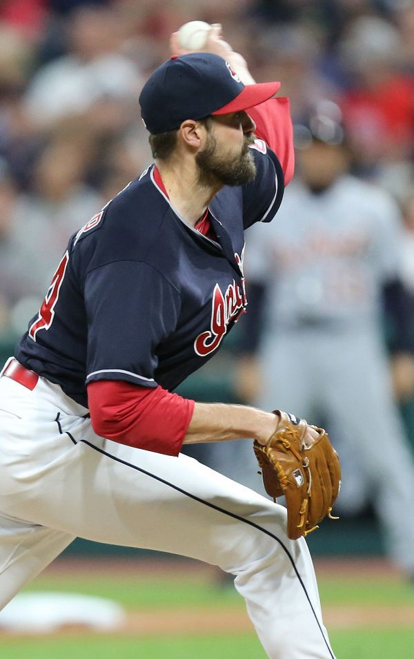 Cleveland Indians relief pitcher Andrew Miller throws in the eighth inning against the Detroit Tigers, July 8, 2017, at Progressive Field. Indians won 4-0
