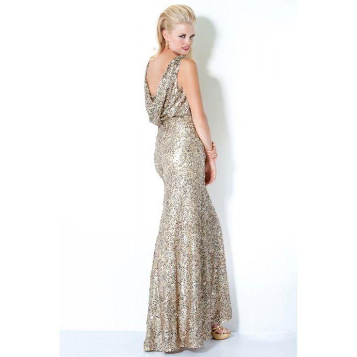 Sheath V-Neck Sequin Draped Silk-Like Satin Long Silver Party Dress