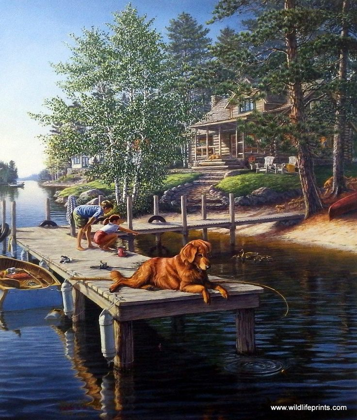 As the kids hang out on the dock fishing, this cute golden retriever is watching and waiting for his attack on the fish on the hook. This is an artist proof print with a certificate of authenticity.