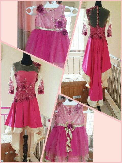 Mother and daughter dress in fuchsia  and gold