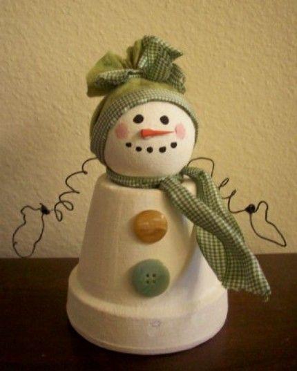 Terra Cotta Snowman Clay Pot